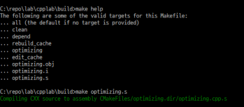 Generating assembly output from msvc and CMake – it's compiling